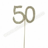 Gold '50' Diamante Pick