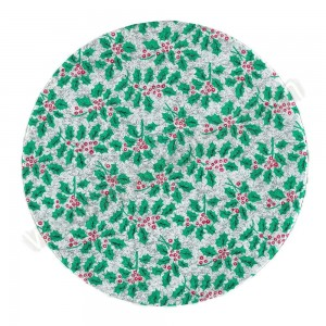 "Holly Design, Silver - 10"" Round Cake Board"