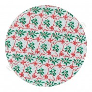 "Holly & Red Ribbon Design, Silver - 10"" Round Cake Board"
