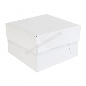 "14"" x 14"" x 6"" - White Folding Cake Box & Lid"