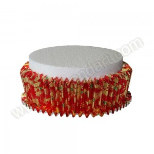 Red Christmas Design Cake Collar - Expanding Foil
