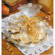 Snowflake Design Cellophane Basket/Plate Bags - Pk/6