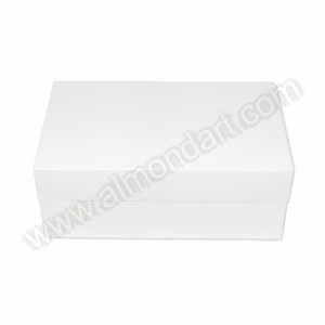 "14"" x 18"" x 6"" - Oblong White Folding Box & Lid"
