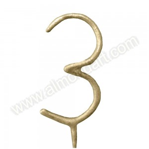 Gold Number '3' Sparkling Candle
