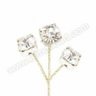 Diamante on Gold Wire - 10 Stems