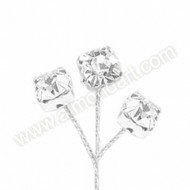 Diamante on Silver Wire - 10 Stems
