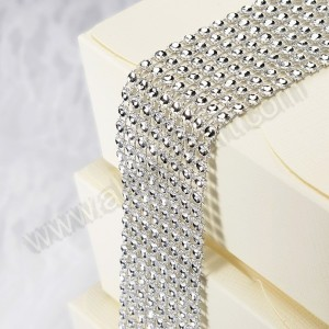 Silver Diamante Effect 8 Row Band 1.5mtr