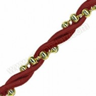 Burgundy Rope with Gold Beads - 1 Metre
