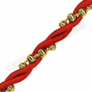 Red Rope with Gold Beads - 10m Roll