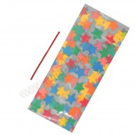 20 Multi Coloured Star Cello Bags With Ties - 127mm x 285