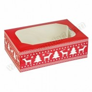 Red Christmas Printed 6 Cupcake Box