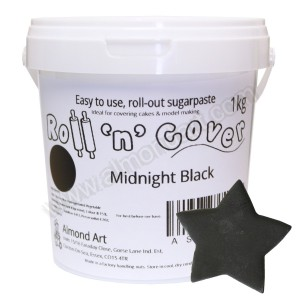 Midnight Black Roll 'n' Cover Sugarpaste - 1kg