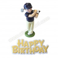 Golfer Resin Topper & Happy Birthday Motto