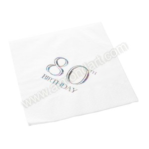 80th Birthday Napkin - 3 ply - 15pk