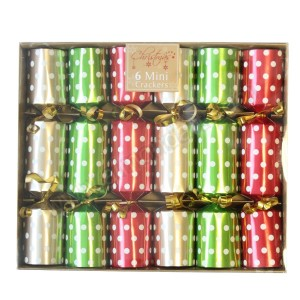 Polka Dot Mini Christmas Crackers - 6pk