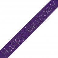"""Happy Birthday"" - Diamante Purple Ribbon - 40mm x 1m"
