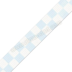Light Blue Printed Block Ribbon 25mm x 1m