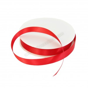 15mm Red Double Sided Satin Ribbon - 25m Roll