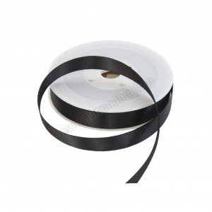 15mm Black Double Sided Satin Ribbon - 25m Roll
