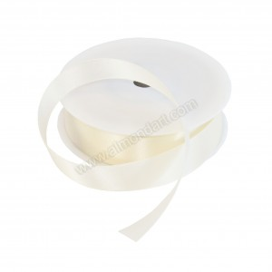 25mm Ivory Double Sided Satin Ribbon - 25m Roll