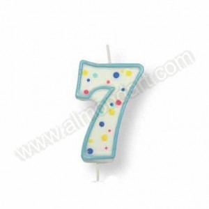 Blue Number '7' Candle