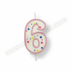 Pink Number '6' Candle