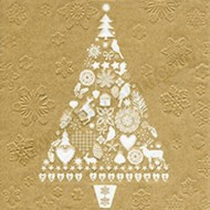 Gold Christmas Tree Napkins - 20pk / 33cm