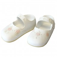 Resin Small Shoes Topper - White with Pink Roses - B