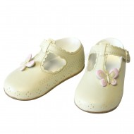 Resin Small Shoes Topper - Cream with Pink Butterfly - C