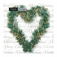 Heart Wreath Christmas Napkins - 20pk / 33cm
