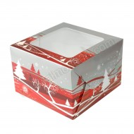 "7"" x 7"" x 4"" Silver & Red Christmas Design Window Box"