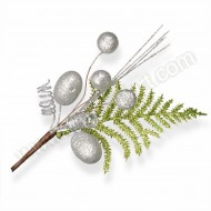 Silver Berries with Green Leaf Spray