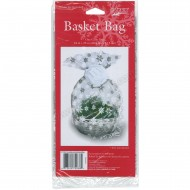 Snowflake Design Large Cellophane Basket Bag