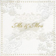 Mr & Mrs Gold Wedding Napkins - 3 ply - 16pk