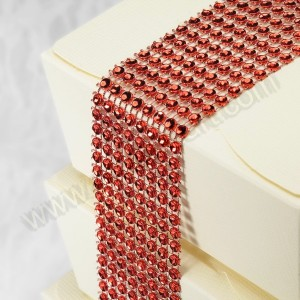 Ruby Red Diamante Effect 8 Row Band - 1.5mtr