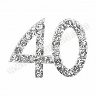 Small Silver 40 Diamante Decoration