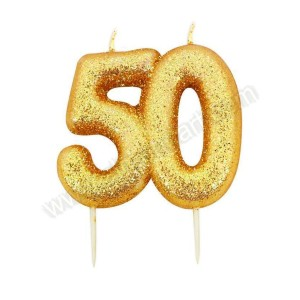 50 Gold Glitter Number Candle