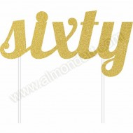 'Sixty' Gold Glitter Cake Topper
