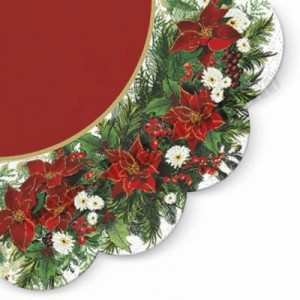 Poinsettia Wreath Red - Round Napkin - 12pk