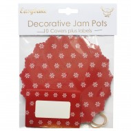 Red Snowflake Jam Pot Covers & Labels - 10pk