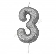 '3' Silver Glitter Candle with Pick