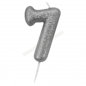 '7' Silver Glitter Candle with Pick