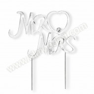 Silver Mr & Mrs Diamante Cake Topper