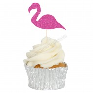 Hot Pink Glitter Flamingo Cupcake Toppers - 12pk