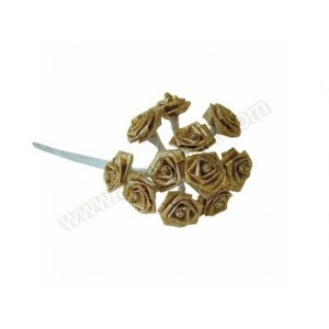 Gold Ribbon Roses - 12pk