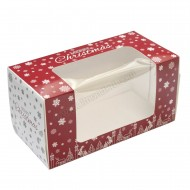 "8""x 4""x 4"" - Silver & Red Christmas Design Window Log Box"
