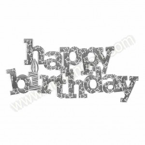 Large 'Happy Birthday' Silver Coloured Motto