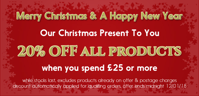 20% OFF all products when you spend over £25, ends 12-01-18