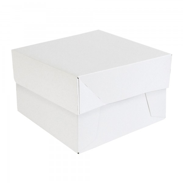 "6"" x 6"" x 6"" - White Folding Cake Box & Lid"