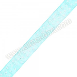 Turquoise Organza Ribbon With White Spots - 23mm x 1m